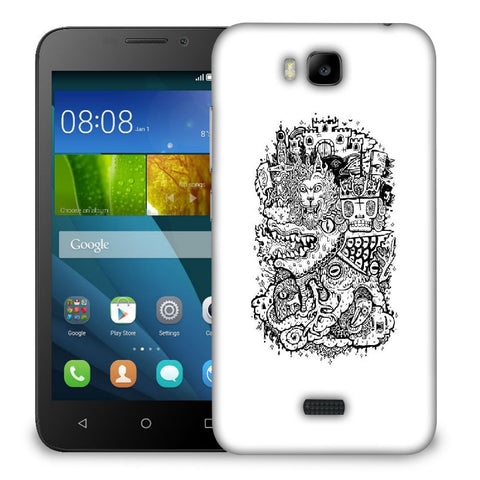 Snoogg Abstract White And Black Faces Designer Protective Back Case Cover For Huawei Honor Bee