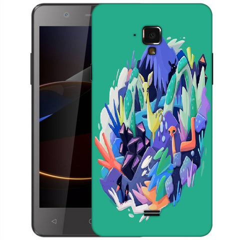 Snoogg Abstract Animal Designer Protective Back Case Cover For Swipe Elite 2 Plus
