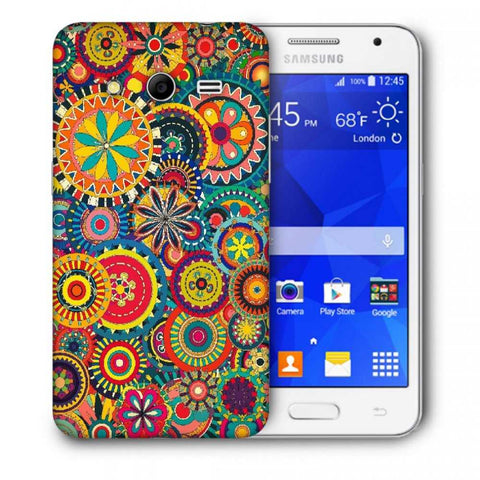 Snoogg Abstract Multicolor Floral Designer Protective Back Case Cover For Samsung Galaxy Core 2