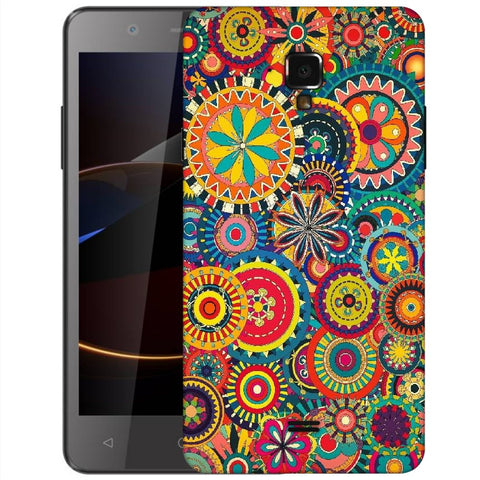 Snoogg Abstract Multicolor Floral Designer Protective Back Case Cover For Swipe Elite 2 Plus