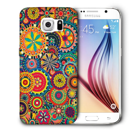 Snoogg Abstract Multicolor Floral Designer Protective Back Case Cover For Samsung Galaxy S6