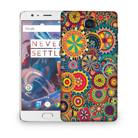 Snoogg Abstract Multicolor Floral Designer Protective Back Case Cover For ONEPLUS 3T