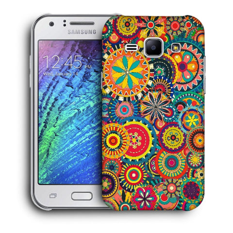 Snoogg Abstract Multicolor Floral Designer Protective Back Case Cover For Samsung Galaxy J1