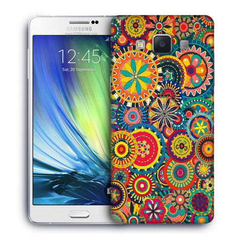 Snoogg Abstract Multicolor Floral Designer Protective Back Case Cover For Samsung Galaxy A7