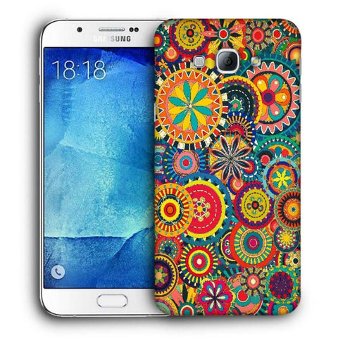 Snoogg Abstract Multicolor Floral Designer Protective Back Case Cover For Samsung Galaxy A8