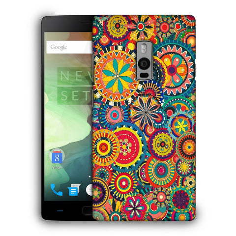 Snoogg Abstract Multicolor Floral Designer Protective Back Case Cover For OnePlus Two