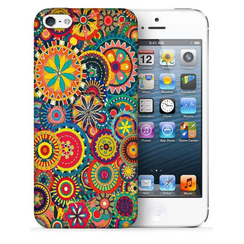 Snoogg Abstract Multicolor Floral Designer Protective Back Case Cover For Apple Iphone SE