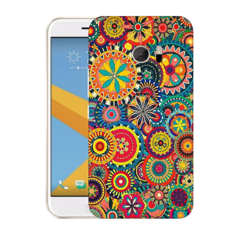Snoogg Abstract Multicolor Floral Designer Protective Back Case Cover For HTC Desire 10 Lifestyle
