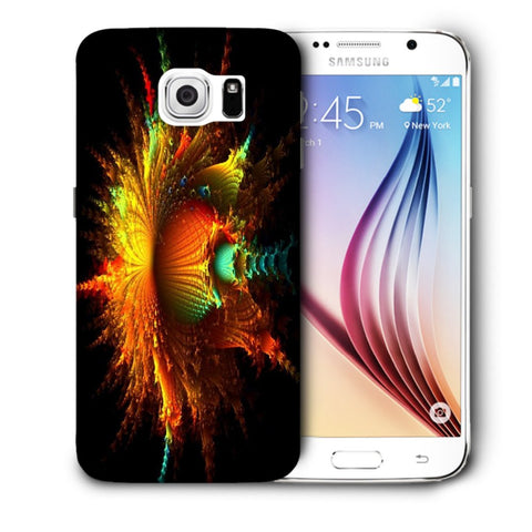 Snoogg Abstract Floral Orange Designer Protective Back Case Cover For Samsung Galaxy S6
