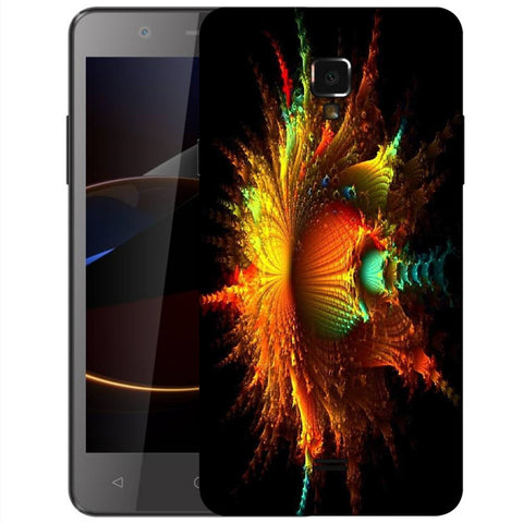 Snoogg Abstract Floral Orange Designer Protective Back Case Cover For Swipe Elite 2 Plus