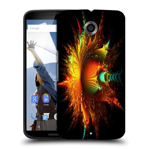 Snoogg Abstract Floral Orange Designer Protective Back Case Cover For Motorola Nexus 6