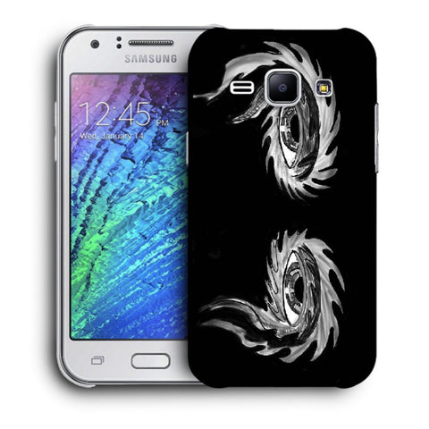 Snoogg Abstract Grey Eyes Designer Protective Back Case Cover For Samsung Galaxy J1