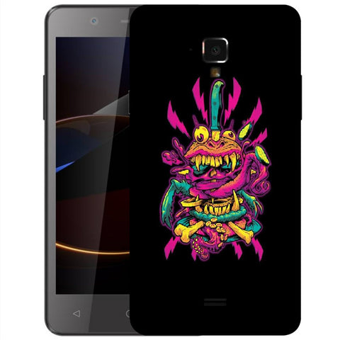 Snoogg Abstract Pink Monster Designer Protective Back Case Cover For Swipe Elite 2 Plus