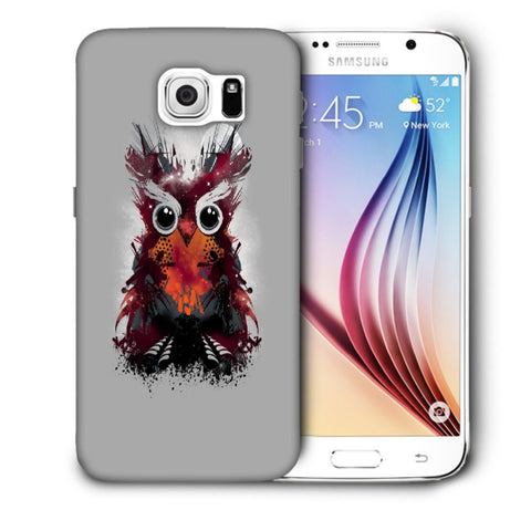 Snoogg Abstract Red Owl Designer Protective Back Case Cover For Samsung Galaxy S6