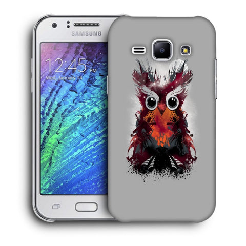 Snoogg Abstract Red Owl Designer Protective Back Case Cover For Samsung Galaxy J1