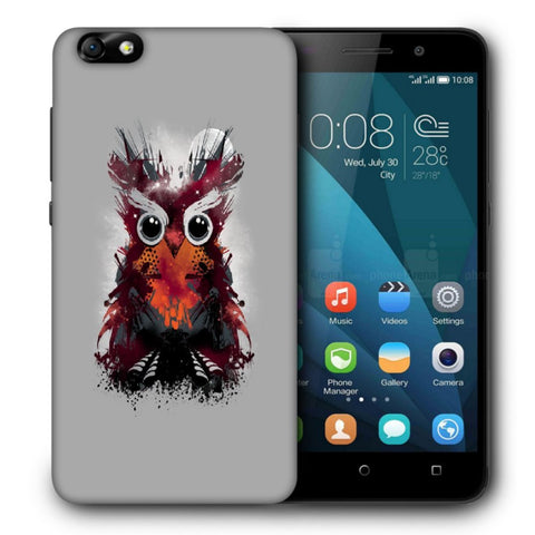 Snoogg Abstract Red Owl Designer Protective Back Case Cover For Huawei Honor 4X