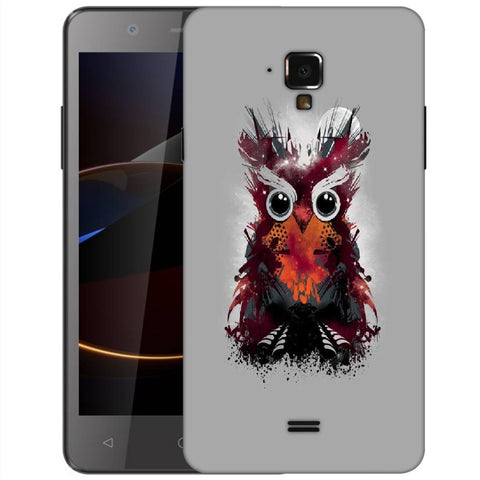 Snoogg Abstract Red Owl Designer Protective Back Case Cover For Swipe Elite 2 Plus