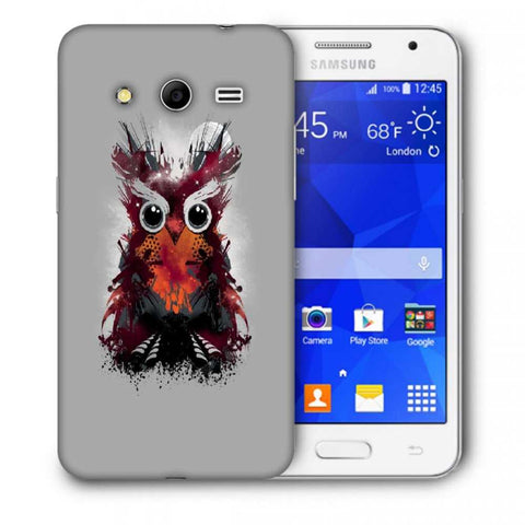 Snoogg Abstract Red Owl Designer Protective Back Case Cover For Samsung Galaxy Core 2