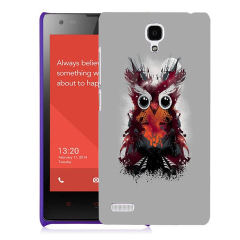 Snoogg Abstract Red Owl Designer Protective Back Case Cover For Xiaomi Redmi Note 2