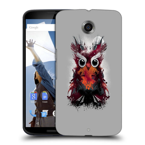 Snoogg Abstract Red Owl Designer Protective Back Case Cover For Motorola Nexus 6