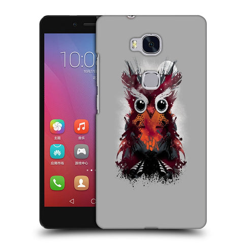 Snoogg Abstract Red Owl Designer Protective Back Case Cover For Huawei Honor 5X
