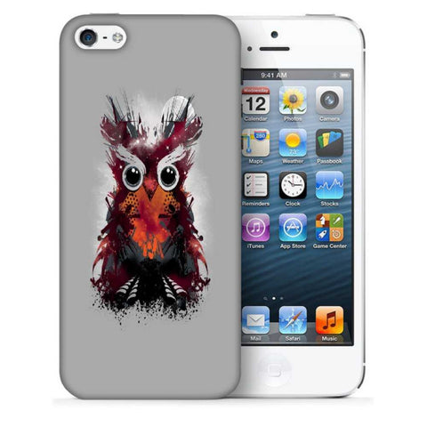 Snoogg Abstract Red Owl Designer Protective Back Case Cover For Apple Iphone SE
