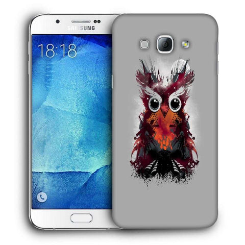 Snoogg Abstract Red Owl Designer Protective Back Case Cover For Samsung Galaxy A8