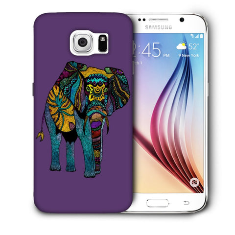 Snoogg Abstract Neon Elephant Designer Protective Back Case Cover For Samsung Galaxy S6