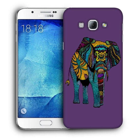 Snoogg Abstract Neon Elephant Designer Protective Back Case Cover For Samsung Galaxy A8
