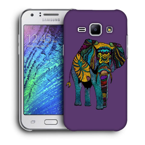 Snoogg Abstract Neon Elephant Designer Protective Back Case Cover For Samsung Galaxy J1