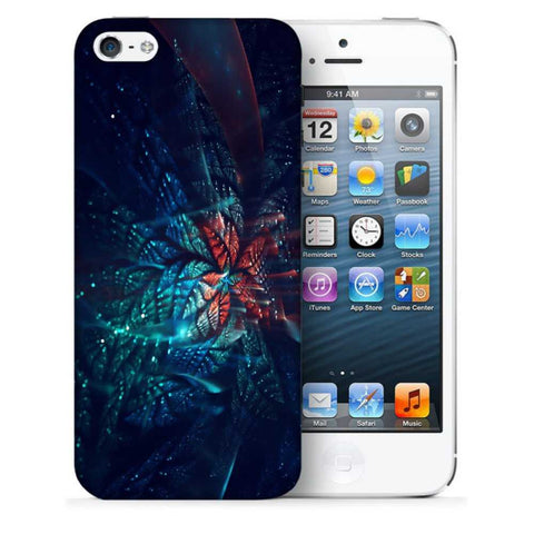 Snoogg Abstract Blue And Orange Floral Designer Protective Back Case Cover For Apple Iphone SE