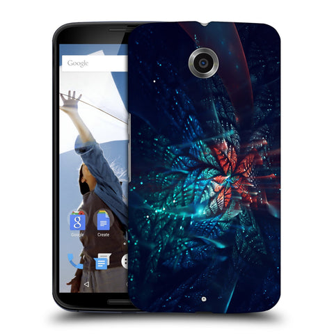 Snoogg Abstract Blue And Orange Floral Designer Protective Back Case Cover For Motorola Nexus 6