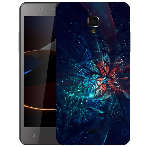 Snoogg Abstract Blue And Orange Floral Designer Protective Back Case Cover For Swipe Elite 2 Plus