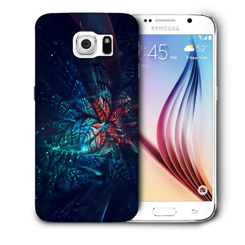 Snoogg Abstract Blue And Orange Floral Designer Protective Back Case Cover For Samsung Galaxy S6