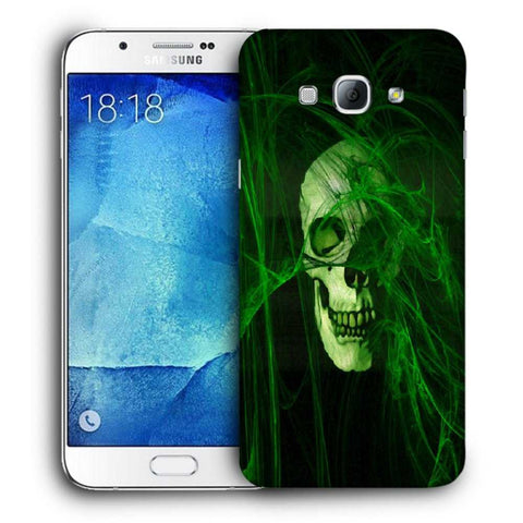 Snoogg Abstract Skull Green Designer Protective Back Case Cover For Samsung Galaxy A8