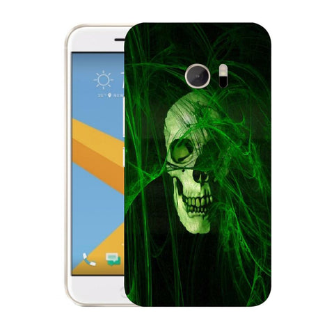 Snoogg Abstract Skull Green Designer Protective Back Case Cover For HTC Desire 10 Lifestyle