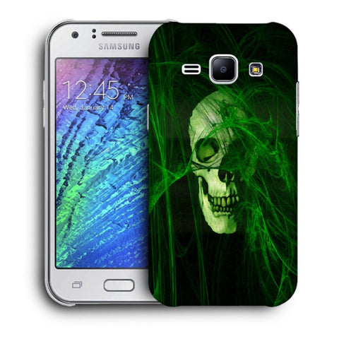 Snoogg Abstract Skull Green Designer Protective Back Case Cover For Samsung Galaxy J1