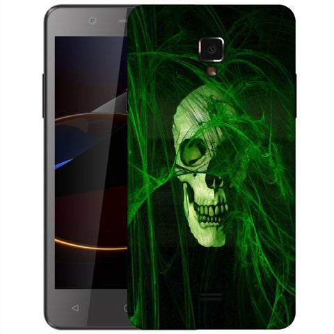 Snoogg Abstract Skull Green Designer Protective Back Case Cover For Swipe Elite 2 Plus
