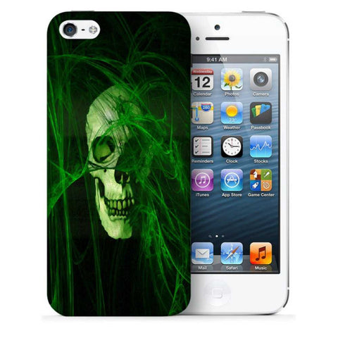 Snoogg Abstract Skull Green Designer Protective Back Case Cover For Apple Iphone SE
