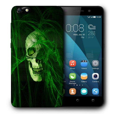 Snoogg Abstract Skull Green Designer Protective Back Case Cover For Huawei Honor 4X