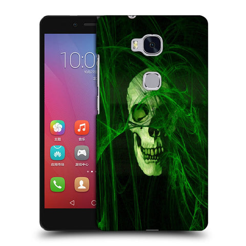 Snoogg Abstract Skull Green Designer Protective Back Case Cover For Huawei Honor 5X