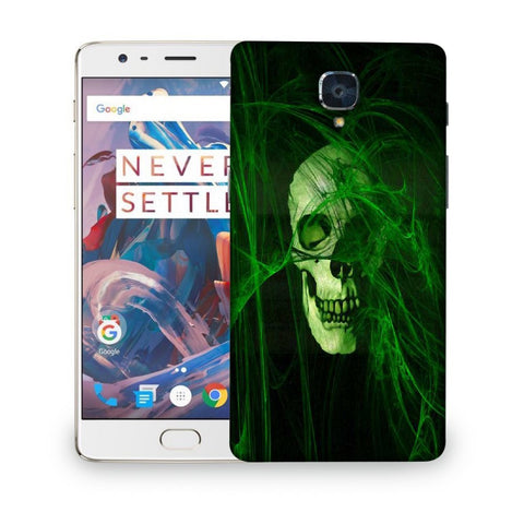 Snoogg Abstract Skull Green Designer Protective Back Case Cover For ONEPLUS 3T