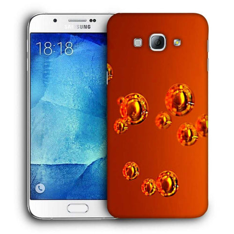 Snoogg Abstract Orange Bubbles Designer Protective Back Case Cover For Samsung Galaxy A8