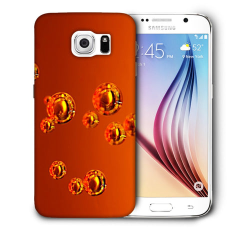 Snoogg Abstract Orange Bubbles Designer Protective Back Case Cover For Samsung Galaxy S6