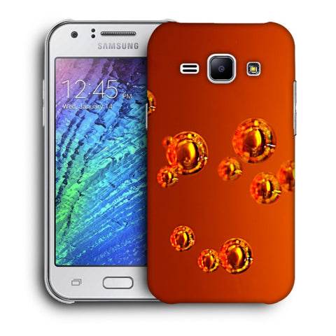 Snoogg Abstract Orange Bubbles Designer Protective Back Case Cover For Samsung Galaxy J1