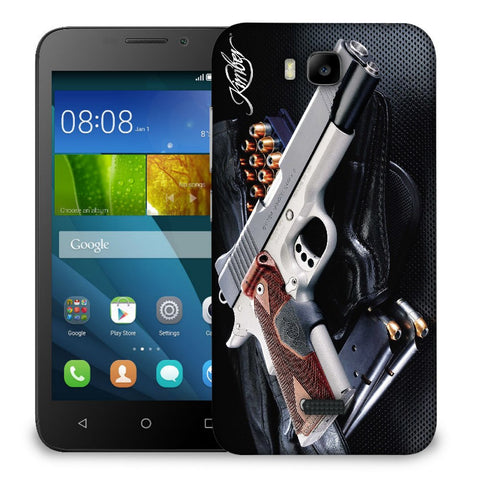 Snoogg Abstract Gun Designer Protective Back Case Cover For Huawei Honor Bee
