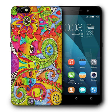 Snoogg Abstract Art Faces Designer Protective Back Case Cover For Huawei Honor 4X