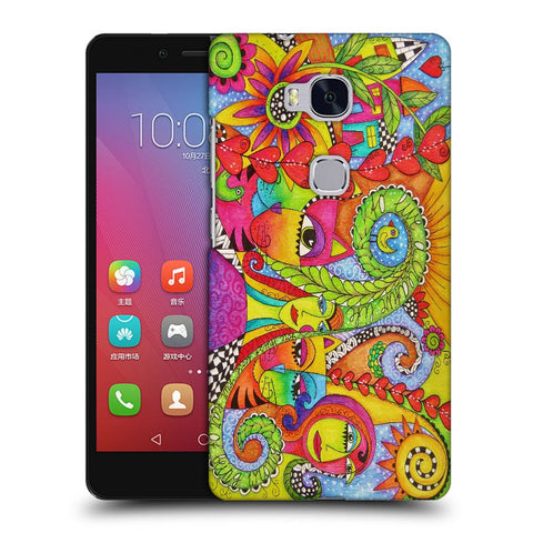 Snoogg Abstract Art Faces Designer Protective Back Case Cover For Huawei Honor 5X