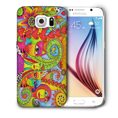 Snoogg Abstract Art Faces Designer Protective Back Case Cover For Samsung Galaxy S6
