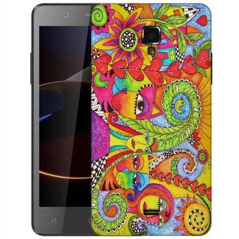 Snoogg Abstract Art Faces Designer Protective Back Case Cover For Swipe Elite 2 Plus